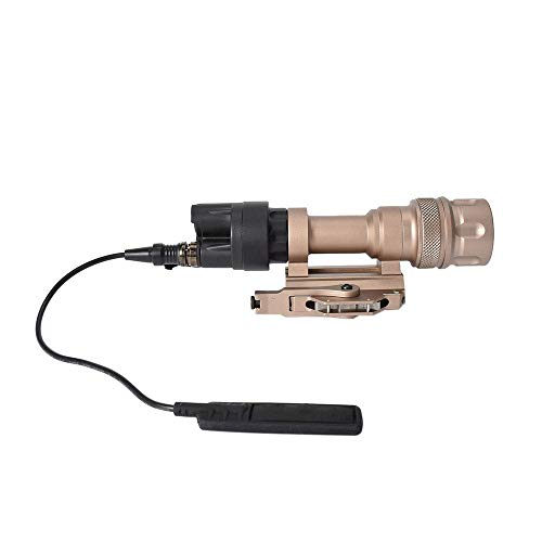 FARMSOLDIER 400 Lumen Rifle Light with Remote Pressure Switch,Tactical Rail Mounted Flashlight Constant and Strobe Modes Cord Control Option,Picatinny Rail Mount Single Mode Hunting Light Tan