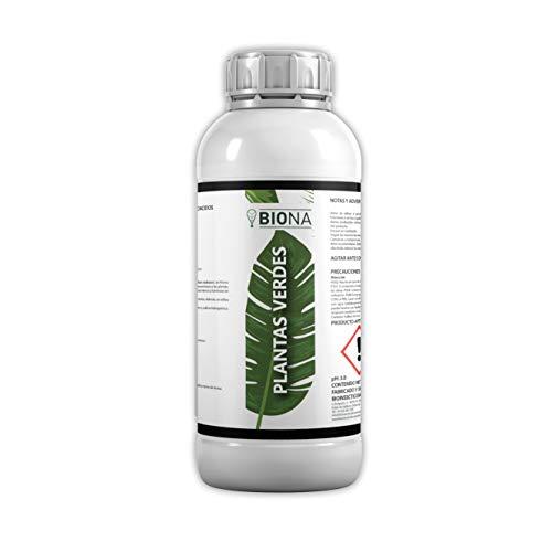 BIONA | Plantas Verdes | Fertilizante Plantas Verdes Natural | Alto Contenido en Algas, Hierro y Aminoácidos | Plantas de Interior y Exterior | Concentrado 1L