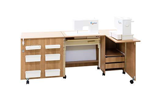 Comfort 5+ | Nähmaschinenschrank | Nähmöbel| Nähtisch | Aufbewahrungsschrank | (Premium White, L (Air-lift 10 to 15 kg))
