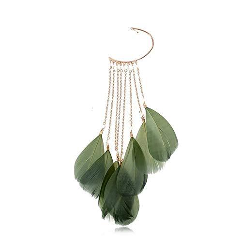 Ouken 1PC Elegante Pluma Kit de joyería del oído de los puños para no Pendiente Piercing Wrap largas borlas Pendientes de Gota cuelgan el Regalo de la joyería para Las Mujeres niñas (Verde)