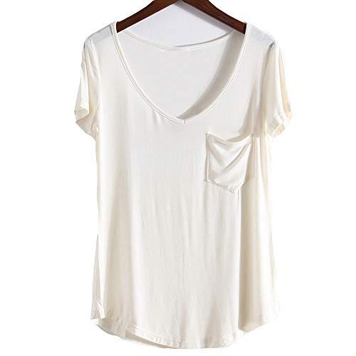 Camiseta de Mujer de Manga Corta Camisa Salvaje Camisa de Fondo de Gran tamaño Camiseta de Mujer Modal de Mujer de Manga Corta