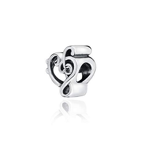 LILANG Pulsera de joyería 925 Pandora Natural Nueva colección de otoño Cuentas de Plata esterlina Corazón Clave de Sol Charms Fit Original DIY Gifts para Mujeres