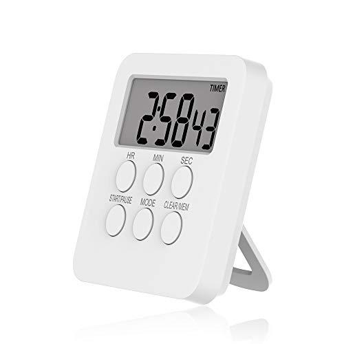 Aibecy Horloge de minuterie numérique Alarme de compte à rebours de cuisson magnétique 24 heures avec écran LCD Mode muet pour étudier la bibliothèque de salle de classe de bureau de sport