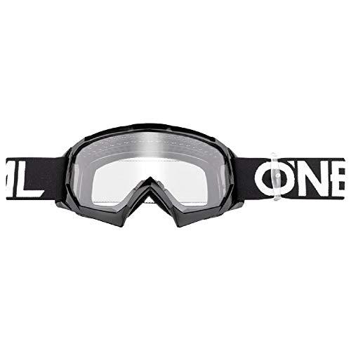 O'NEAL | Motocross-Brillen-Ersatzteile | Motorrad Enduro | Modernes Rahmendesign, Glas aus hochwertiger 1,2 mm-3D-Linse, 100% UV-Schutz | B10 Youth Goggle Solid | Schwarz Weiß | One Size