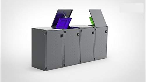 Reinkedesign Mülltonnenbox Boxxi mit Pultdach aus verzinktem Stahl in Anthrazit RAL 7016 als Bausatz (4 x 240l)