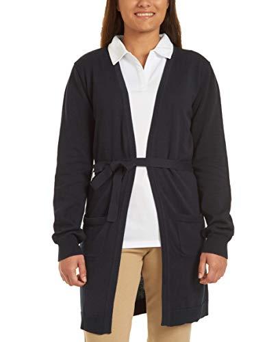 Chaps Juniors Uniform Belted Cardigan Sweater, Navy, Medium(7/9)