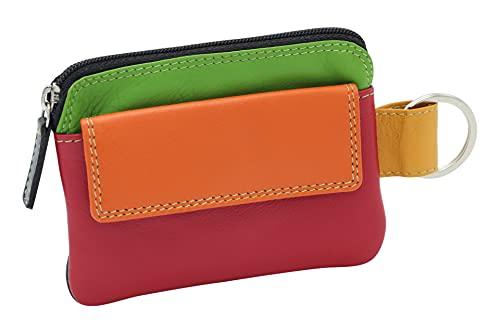 LEAS Damen und Herren mehrfarbige Schlüsseltasche mit Kleingeldfach Echt-Leder, bunt Multicolore-Serie