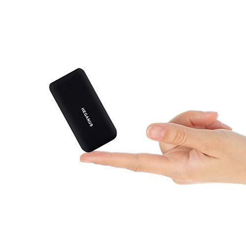 Heganus Powerbank 10000mAh, Mini Kompakte Externer Akku, Kleine und Leichter Power Bank mit Micro+Type C, Handy Ladegerät Leicht Compact Externer Batterie für iPhone,Samsung,Huawei,iPad (Schwarz)