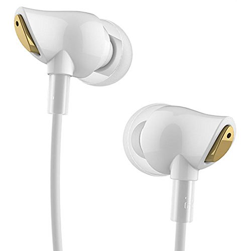 iwish Rock Earphone Nano Zircon Stereo Earphone Headset 3.5mm in Ear Headset Earbuds for iPhone Samsung with Mic&Remote White