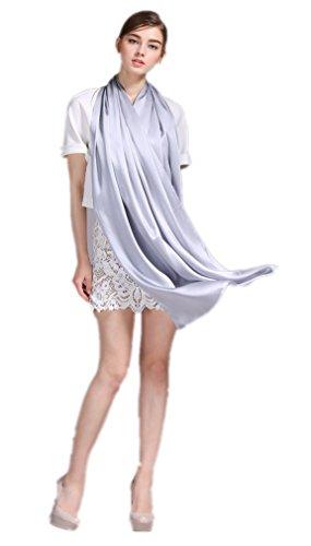 prettystern Damen festlich einfarbig Crepe Satin Seiden-Stola Schulter-Tuch für Abendkleider - silber