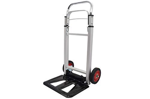 Carretilla o carro de carga plegable de aluminio con mango extensible de hasta 109 cm para cargas de hasta 90 KG.