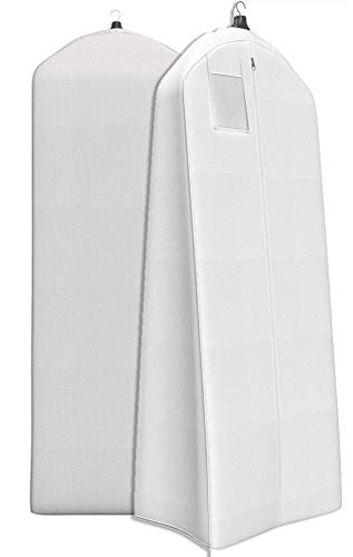 "Women's Dress and Gown Garment Bag - 72""x24"" with 20"" Tapered Gusset -White"