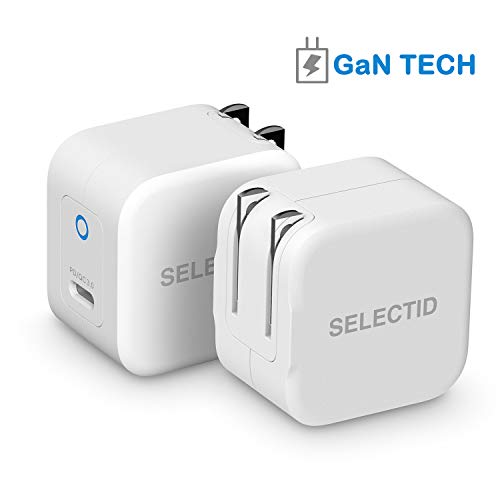 SELECTID Mini USB C Charger PD, 30W iPhone Charger Adapter [GaN Tech] iPhone Wall Charger PD with Foldable Plug for MacBook Pro iPad Pro Nintendo Switch Pixel, iPhone 11 Pro Max X XS XR 8, etc.