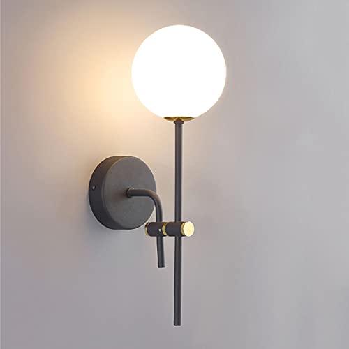 Simplicidad Lámpara montada en la pared Negro, Arte de hierro Luz de pared Lámparas Decorativas Muro Apliques, Lámpara de mesita de noche Dormitorio Lámparas de pared para sala de estar Corredor