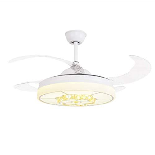 Ventilador De Techo Blanco De Bajo Consumo con Iluminación LED Regulable, 107 Cm De Largo, Incluido Control Remoto, Velocidad del Viento Ajustable, Lámpara De Techo Moderna