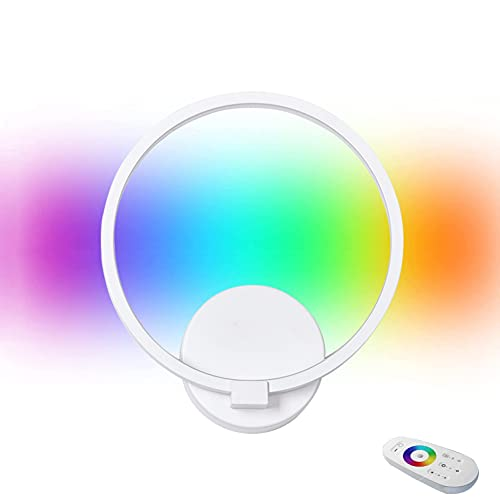 HMAKGG Lampara de Pie LED RGB Regulable con Control Remoto Táctil, Luz Blanca, Estilo Moderno, Bajo Consumo, Apliques Pared Pasillo Clasico (Blanco)