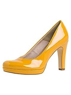 scheda tamaris donna scarpe col tacco,scarpe con piattaforma,piattaforma,scarpe col tacco,plateau,pattini,elegante,confortevole,saffron patent,36 eu/3.5 uk