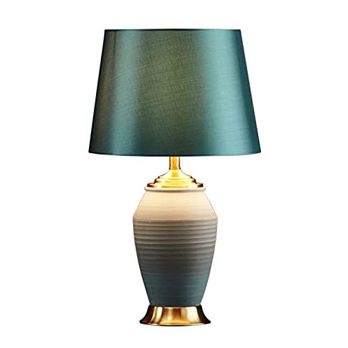 Lámpara Escritorio Moderna lámpara de mesa moderna estilo degradado estilo mate glaseado verde satén tambor decoración para la sala de estar dormitorio dormitorio noche de noche oficina de oficina Lam