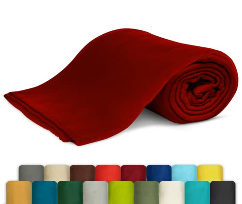 KiGATEX Polar-Fleecedecke - Leicht zu pflegene Decke für Innen und Außen - Tagesdecke, Sommerdecke, Sofadecke, Kuscheldecke - 130 x 160 cm - Bordeaux