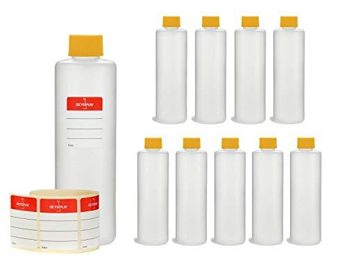 Octopus 10 botellas de plástico de 250 ml, botellas vacías de plástico HDPE con tapas de rosca amarillas, botellas vacías resistentes a los productos químicos
