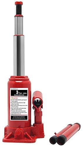 BAOSHISHAN 3 Ton Double Ram Bottle Jack 6-1/2' to 16-1/2' Lifting Range Portable Hydraulic Bottle Jack with Carrying Case