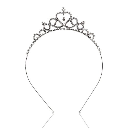 Tinksky Delicate Wedding Party Children Flower Girl Crystal Rhinestones Heart Shaped Crown Headband Tiara (Silver)