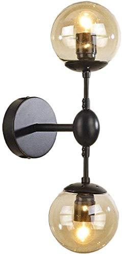 Wandlamp dubbele bal lampenkap ontwerp uitstekende corrosiebestendigheid bruin glas uniek wandscherm 45x13x10cm Zwart