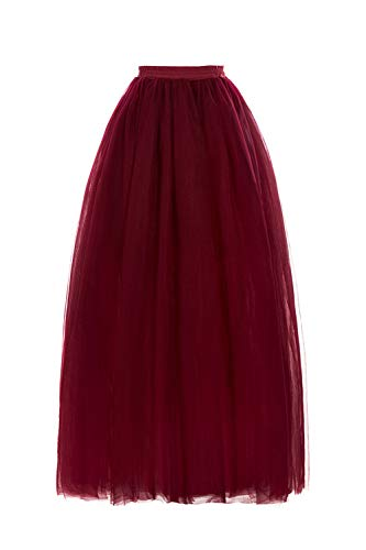 Women's A-Line Tulle Strips Ruffles Tutu Ball Gown Skirts(Burgundy,One Size)
