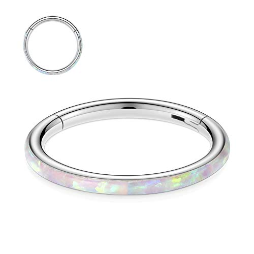 Kzslive 16G CZ Nose Rings Septum Clicker 316L Surgical Steel Segment Helix Cartilage Earrings Hoop Daith Piercing Jewelry (Pink, 16G-6mm)