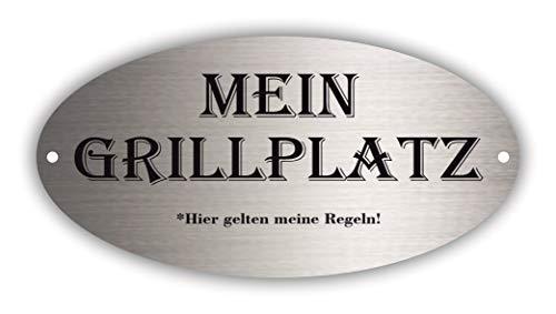 Plata – Mein Grillplatz – Cartel de aluminio de metal | Formato 20 x 10 cm | Meine Reglas | Diseño elegante en excelente calidad | Resistente a la intemperie y fabricado en Alemania | barbacoa
