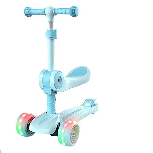 QIXIAOCYB La altura del patinete plegable es ajustable. Los niños de 2 a 10 años pueden montar en el scooter en un pie B (color: A)