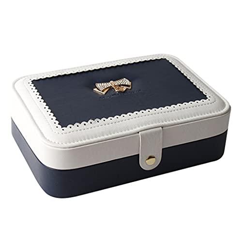 ZWS Joyero Caja de joyería de Cuero Exquisita, Caja de Almacenamiento de joyería de Viaje portátil Simple Caja de joyería para Anillos Pendientes Collares Pulseras Caja de joyería (Color : Blue)
