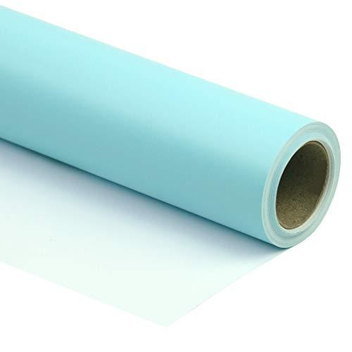 RUSPEPA Hellblau Glänzendes Geschenkpapier - Einfarbig Für Hochzeit, Geburtstag, Dusche, Glückwunsch Und Weihnachtsgeschenke - 76 CM X 10 M