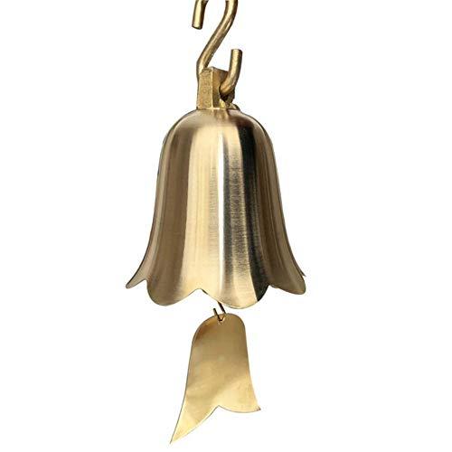 Puur messing gouden bel hanger antiek koper kerstklokken grote kleine ronde windgong voor tempelpagoden School decoratief, achthoekige bel, 150 mm