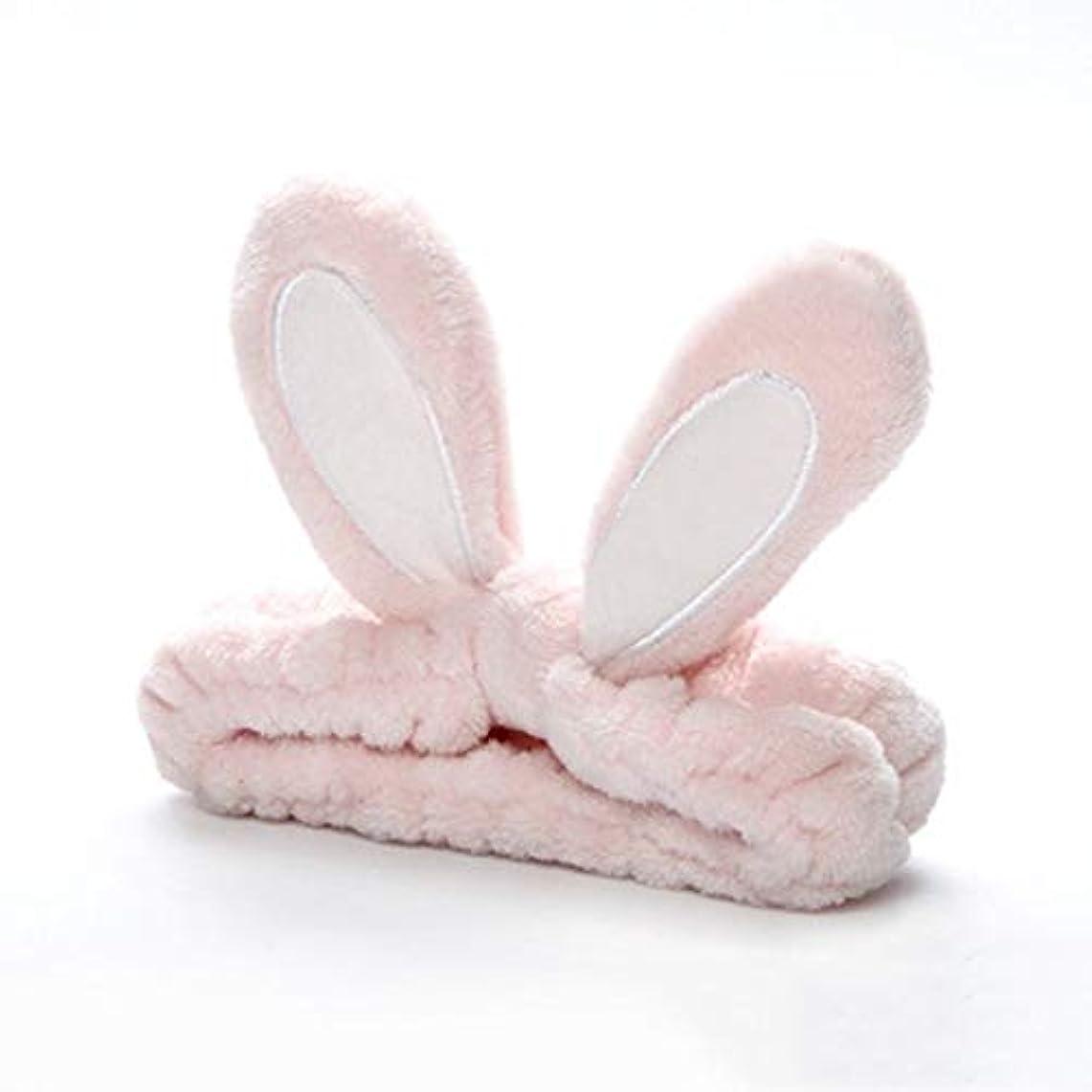 イースターベルベットウェーハかわいいうさぎ耳帽子洗浄顔とメイクアップ新しくファッションヘッドバンド - ライトピンク