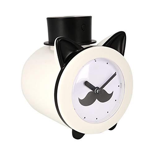 LG&S Lámpara De Mesilla De Noche Humidificador De Niebla Fría Multifuncional Reloj con Forma De Sombrero De Caballero para El Dormitorio Cumpleaños,Blanco