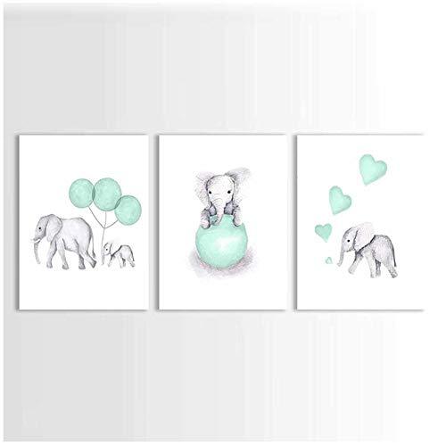 Olifant kinderkamer prints schilderij op canvas dieren mintgroen ballon hart poster foto's home decor voor kinderen babykamer-50x75x3Pcscm geen frame