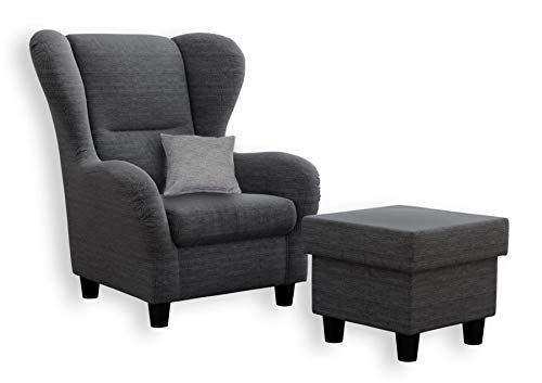 lifestyle4living Ohrensessel mit Hocker in Grau im Landhaus-Stil | Der perfekte Sessel für entspannte, Lange Fernseh- und Leseabende