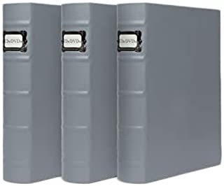 DVD Binder by Bellagio-Italia, Full Gray Faux-Leather - DVD Storage for Home or Office - DVD Storage Binder Stores up to 4...