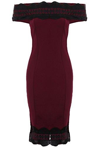 Zafiro Boutique Mujer con Textura Festoneado Ribete De Encaje espalada Dividida estil Bardot Sin Un Hombro Vestido Ceñido