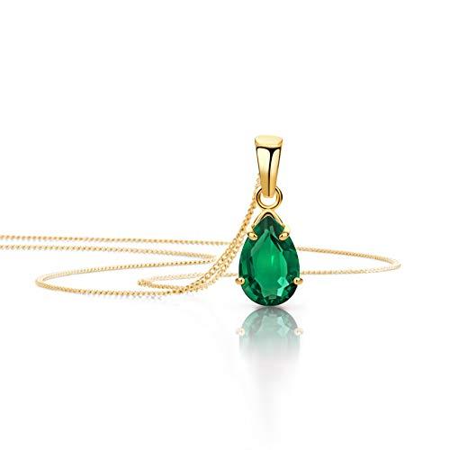 Orovi Schmuck Damen Halskette mit Tropfen Anhänger Edelstein/Geburtsstein Smaragd in Grün Kette aus Gelbgold 9 Karat / 375 Gold