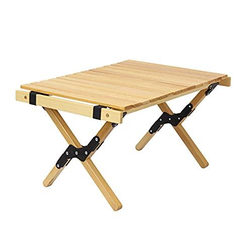 Mesa Plegable Camping Folding Table Multifuncionales de Madera Enrollable Antideslizante Giratoria Fuerte...
