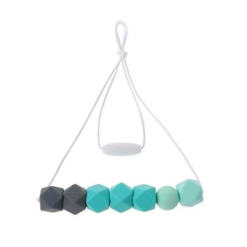 XIANGBEI Collar de seguridad para enfermedades de bebé, perlas de silicona, collar mordedor, para bebés, refrescante, anillo mordedor para niños pequeños, para la dentición
