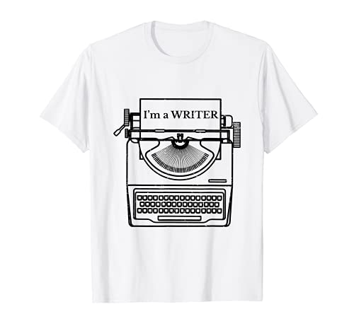 I'm A Writer Typewriter T-shirt, White for Adults. Other colours available.