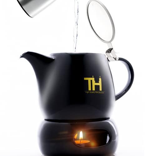 Thiru Teekanne mit Siebeinsatz   1200ml   Tropffreier Teebereiter (1,2L mit Stövchen)