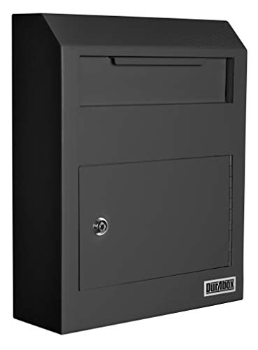 DuraBox Wall Mount Locking Drop Box Steel Mailbox for Rent Payments, Mail, Keys, Cash, Checks W500 (Black)