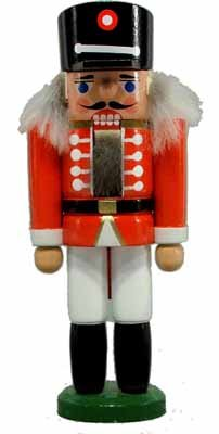 Miniatur - Nussknacker Husar rot 14cm NEU Nußknacker Holz Figur Erzgebirge