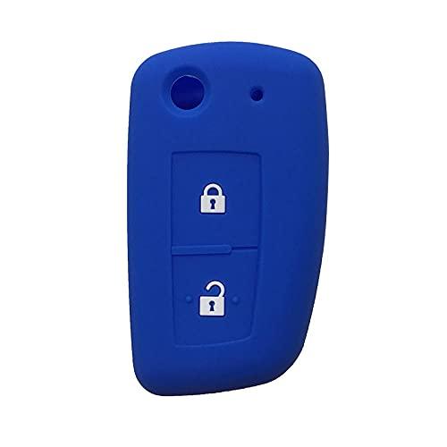 Funda de silicona para llave de coche, compatible con N-issa-n X Trail T31 Tiida Murano T32 Qashqai J10 Juke Accessories Maxima Altima Geniss Key Case-azul