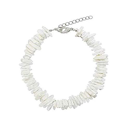 Women Shell Choker Necklace/Anklet/Bracelet Puka Chip Shells Necklace Hawaiian Beach Adjustable Necklace Bohemian Necklace (Anklet White)