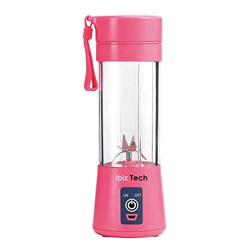 Portable Blender, IBIZ TECH the best tecnology Smoothie Juicer Cup - Six Blades in 3D, 13oz Fruit Mixing Machine with 2000mAh USB Rechargeable Batteries, Ice Tray, Detachable Cup, Perfect Blender for Personal Use (FDA, BPA Free) Pink